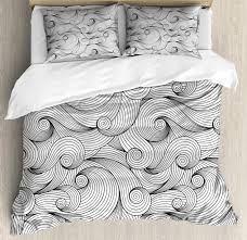 black and white duvet cover set queen size doodle design abstract curled waves pattern asymmetrical spirals theme decorative 3 piece bedding set with 2