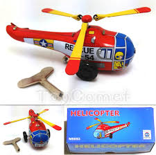mini rescue helicopter ms653 retro clockwork wind up tin toy w box