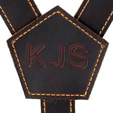 personalized leather men s suspenders brown leather formal wedding dress trouser braces for groomsmen with clip