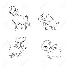 冬服のかわいい漫画の犬コッカー スパニエルイタリアン グレーハウンド