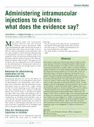 Pdf Administering Intramuscular Injections To Children