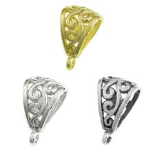 details about bali sterling silver 14k gold on ss flower bail clasp pendant slide connector