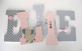 amazon pink and gray elephant custom wooden letters baby girl nursery decor large 9 inch bedroom decorations wood name art for walls handmade on wood elephant nursery wall art with amazon pink and gray elephant custom wooden letters baby girl