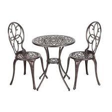 arria antique bronze 3 piece cast aluminum patio bistro set