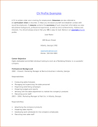 Cover Letter Resume Personal Profile Examples Personal Profile