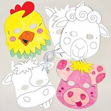 Card Masks To Decorate Amazon Farm Animals Colorin Card Mask Craft Kits for 25