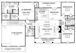 house plans with separate kitchen a simple one story house plan with two master big kitchen