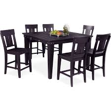 New Haven Counter Height Dining Table And 6 Slat Back Stools