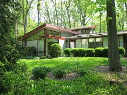 Cool Metropolis Mid Century Modern Homes With Green Yard - Green home design