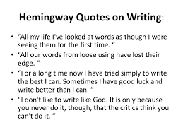 example of hemingway writing style the ernest hemingway collection