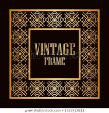 Vintage Ornamental Decorative Label Frame Ornate Stock
