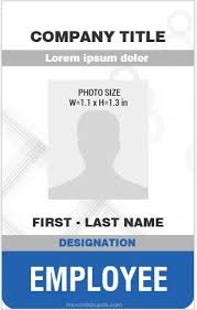 Company Id Badge Template Employee Id Card Template Vertical Design Ms Word Id Card