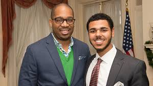 Keynote Speaker Michael Sales smiles with TFAS student Avery Baker   The  Fund for American Studies