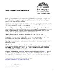 Mla Style Citation Guide Rockingham Community College Pages 1 10