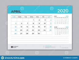 April 2020 Template April 2020 Template Desk Calendar For 2020 Year Week Start