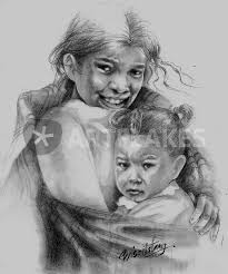 """PROTECT OUR CHILDREN Series - Nepal"""" Drawing art prints and posters by Priscilla  Tang - ARTFLAKES.COM"""