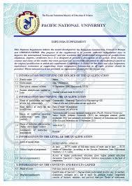 Общеевропейское приложение к диплому Тихоокеанский  Образец Общеевропейского приложения к диплому ТОГУ
