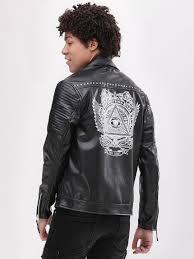 koovs biker jacket with back print studs ping 1