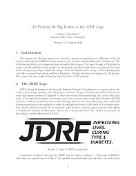 pdf 3d printing the big letters in the jdrf logo