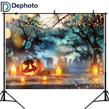 DePhoto <b>Mysterious Forest</b> Old Trees <b>Halloween Backdrop</b> Pumpkin ...