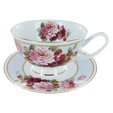 and strawberry blue bone china  teacup and saucer set of