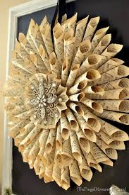 diy vine french old book pages wreath