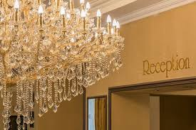 the biggest crystal chandelier in slovakia on the reception of palace hotel polom