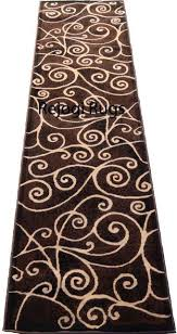 rug runner brown modern swirls woven area rug runner brown black off white actual size home