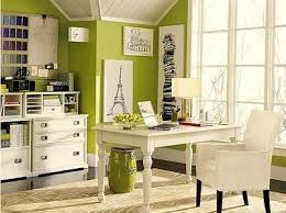 lime green office. another lime green and white office with black artwork