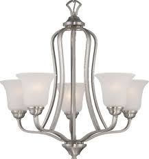 elizabeth brushed nickel chandelier frosted glass shades 25 wx25 h