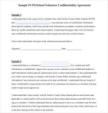 confidentiality agreement template sample volunteer confidentiality agreement template 6 free