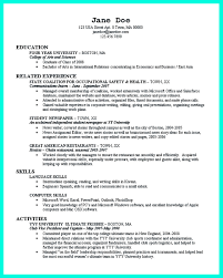 occupational safety resume