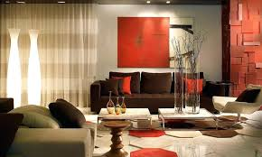 red sofa decor with leather lounge chairs living room contemporary and brown floor lights beige rug