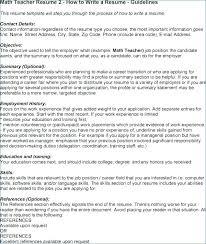 Teacher Resume Objective Math Teacher Resume Objective Teacher
