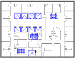 floor plan showing offices stairwells elevators