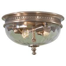 three light brushed bronze clear optic glass bowl flush mount