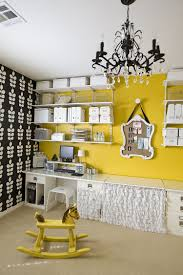 cool office wallpaper. Fabulous Wall Shelves And Yellow Accent Enliven The Cool Home Office [Photography: Michelle Wallpaper