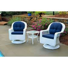 white outdoor furniture. Biloxi Outdoor White Resin Wicker 3-Piece Swivel Glider Set With Blue Cushions Furniture