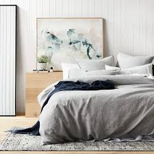 home republic vintage washed linen quilt cover grey marle