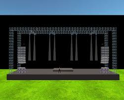 stage speakers setup. concert stage with flown speaker arrays 10 x 40 - 146 prims speakers setup o