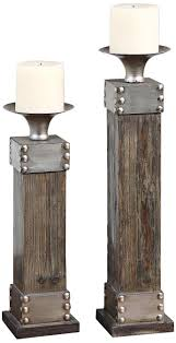 Set of 2 Uttermost Lican Wood and Metal Candle Holders | Metals, Woods and  Industrial