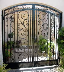 wrought iron fence gate. Simple Gate Arched Decorative Double Courtyard Entry Gate To Wrought Iron Fence W