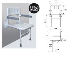 deluxe shower seat with back arms