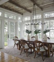 for Sunroom/dining room: planked ceiling same stain as kitchen cabinets,  really cool rustic chandelier, same gray walls as living area, and white  framed ...