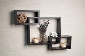 ... Danya B Intersecting Espresso Color Wall Shelf Grey Wall Black Glossy  Wooden Material Cube Design Glass ...