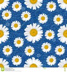 Daisy Jean Floral Designs Daisy Flowers Seamless Pattern On Jeans Background Stock