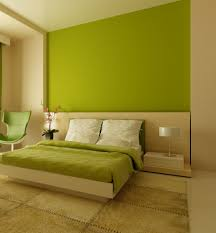 green wall paintMinimalist Bedroom Ideas With Green Wall Painted And White Bed