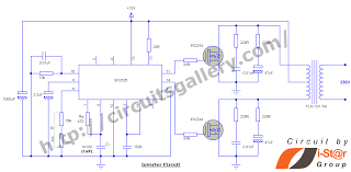12v to 230v inverter circuit schematic using pulse width modulator sg3525 pwm inverter circuit