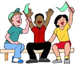 sports fan clipart. cartoon children cheering clipart. sports fan clipart