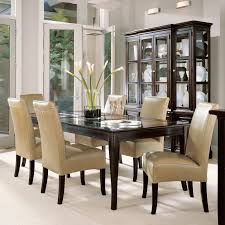 Dark Wood Dining Table And Cream Chairs